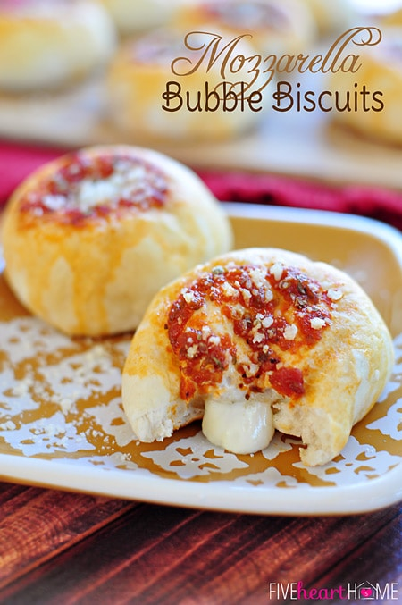 Mozzarella Bubble Biscuits ~ stuffed with gooey melted cheese, these make a perfect appetizer, snack, or accompaniment to Italian fare | FiveHeartHome.com for OneSheTwoShe.com