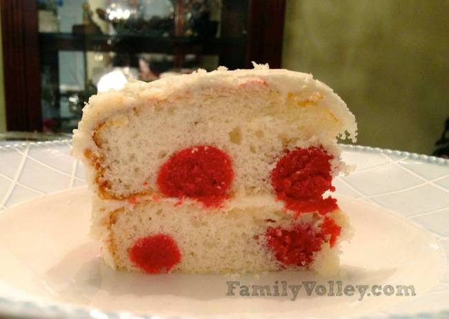 Polka Dot Surprise Cake-FamilyVolley.com