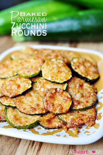 Baked Parmesan Zucchini Rounds ~ only 2 ingredients! | FiveHeartHome.com