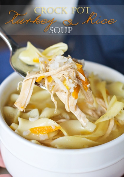 Crock Pot Turkey & Rice soup from Kleinworthco.com
