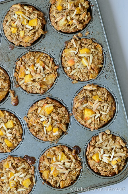 Baked Peach Almond Oatmeal Cups