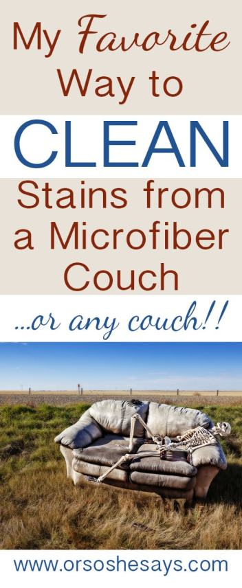 My favorite method for cleaning a microfiber couch!!