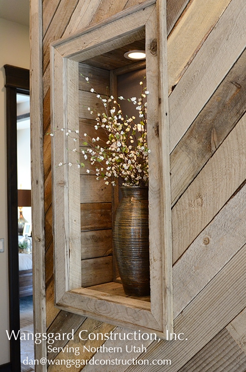 Such a cool wall! Lots and lots of finish carpentry ideas from Mariel's husband, a Utah finish carpenter!
