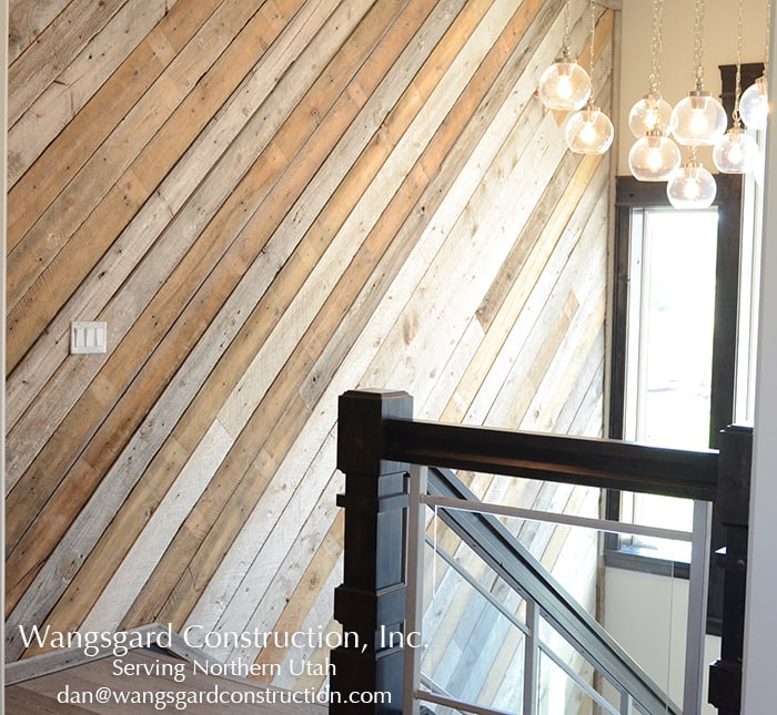 I love this weathered wood wall! Lots and lots of finish carpentry ideas from Mariel's husband, a Utah finish carpenter!