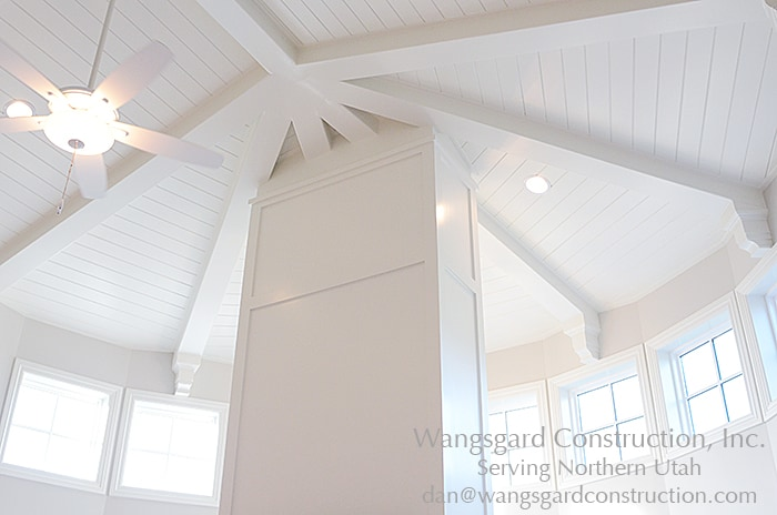 Beautiful white ceiling! Lots and lots of finish carpentry ideas from Mariel's husband, a Utah finish carpenter!