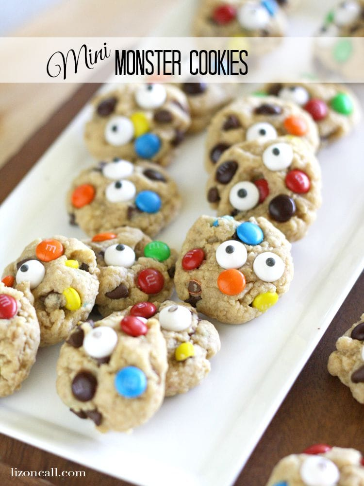 We added candy eyes to our mini monster cookies for added fun!