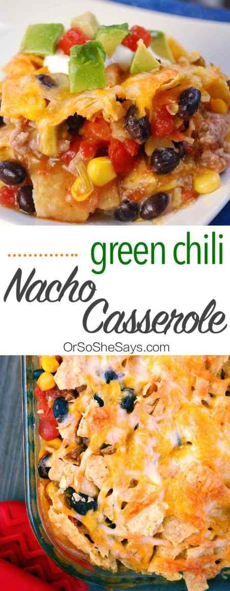 Green Chili Nacho Casserole - a simple weeknight dinner recipe loaded with ground beef, black beans, corn, cheese and tortilla chips