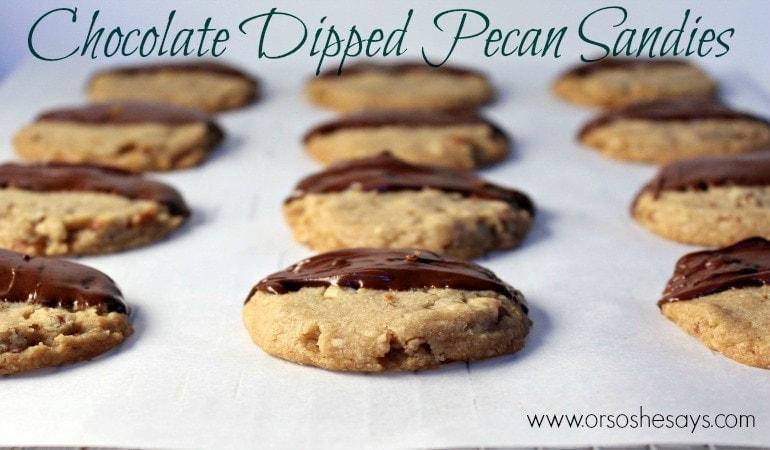 Chocolate Dipped Pecan Sandies
