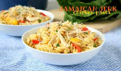 Jamaican Jerk Chicken Pasta Recipe - A quick and delicious semi-homeade recipe you'll love!