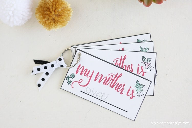 """Free printable """"my mother is..."""" cards to put together a fun gift for mom on Mother's Day."""