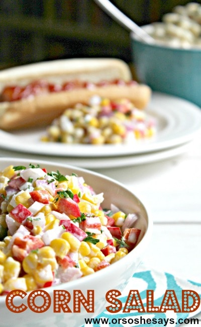 This corn salad only calls for 5 ingredients, so it's easy to cater to your family's favorite tastes. Find the recipe at www.orsoshesays.com.