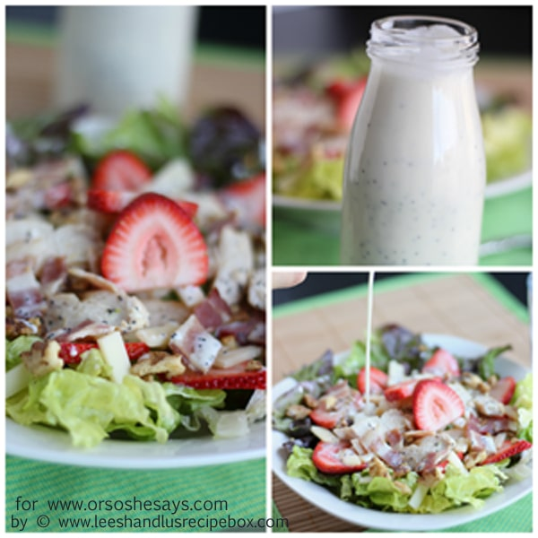 Try this summer strawberry salad paired with grilled chicken, bacon and creamy poppyseed dressing. The kids will LOVE all these elements, even if you have to separate them on the plate! Get the recipe on www.orsoshesays.com.