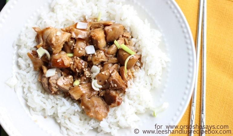 Teriyaki Chicken is a perfect no-fuss meal for back to school! See Leesh & Lu's one-pot take on a classic recipe at www.orsoshesays.com.