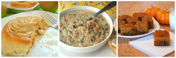 caramel-apple-cinn-rolls-wild-rice-and-mushroom-soup-pumpkin-squares-600px