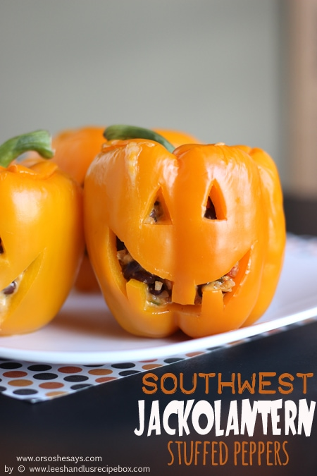 These jack-o'-lantern stuffed peppers are so easy and would make the most fun dinner for Halloween night or a Halloween party! See the how-to on www.orsoshesays.com today.