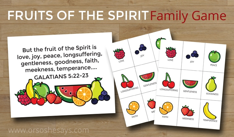 Here's a fun family game, perfect for delving just a little deeper into the scriptures discussing the fruits of the spirit. Get the printables on www.orsoshesays.com..