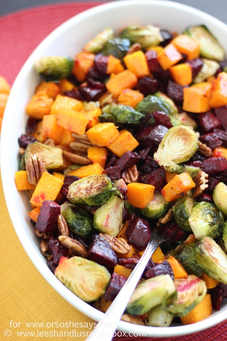 Thanksgiving is just around the corner and we have the perfect side dish for you to add to the table. Not only are these roasted veggies crazy delicious, the colors are gorgeous and you will wow all your friends and family with how beautiful this simple side dish is. Get the recipe on www.orsoshesays.com.