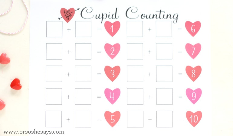 Help your early learners practice their math skills with this free printable cupid counting page. Get the free download from www.orsoshesays.com.