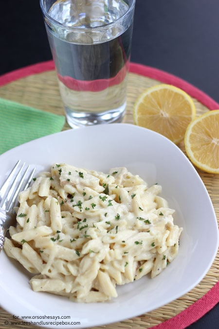 Lemon cream pasta brings a fresh taste to an already easy to whip up dish! If you have leftover chicken, mix it in and enjoy a filling meal. Get the recipe details on www.orsoshesays.com today!