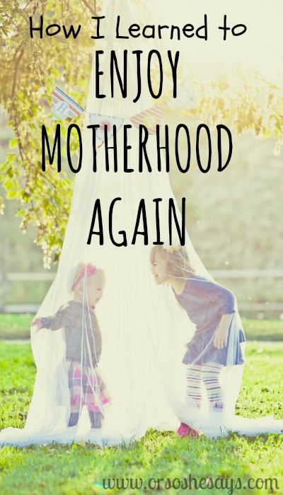 Today on the blog, Elise shares how motherhood started to feel too heavy for her, and how she overcame that and learned to enjoy it again. Read all about it on the blog: www.orsoshesays.com
