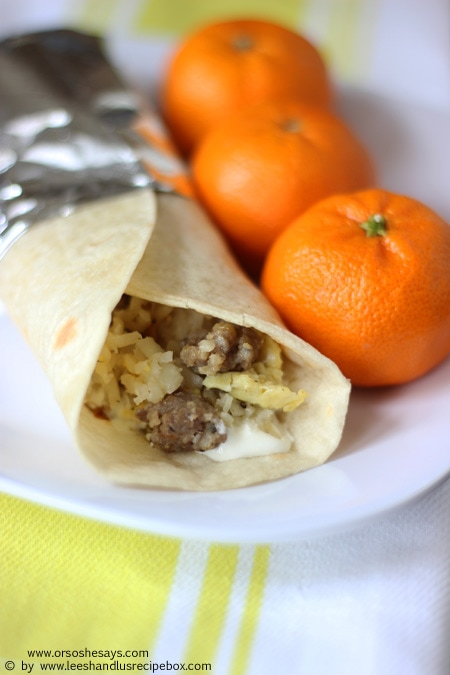 These breakfast burritos are the perfect make-ahead meal; prep them ahead of time for busy mornings, for camping, or just to save you the hassle on a lazy weekend. Get the details today on the blog: www.orsoshesays.com.