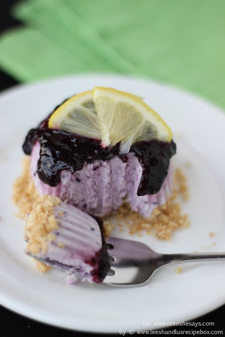 It's no secret that we love cheesecake. And we think this frozen, mini, no-bake version should be declared the official dessert of summer! This blueberry lemon version is cool, light, refreshing, and pretty much everything you could ask for in a dessert. Get the recipe from Leesh and Lu on www.orsoshesays.com today!