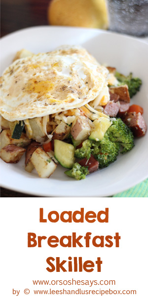 This loaded breakfast skillet is our go-to brinner when we have veggies in the fridge that need to be used up. It's so fast, filling, and easily adaptable to whatever veggies you have on hand. Get the how-to on the blog: www.orsoshesays.com