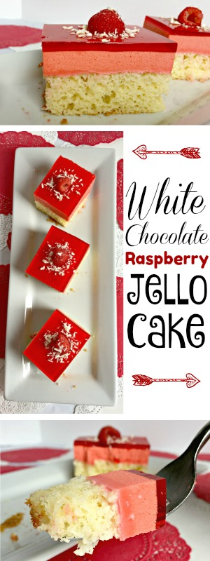 Don't let this white chocolate raspberry jello cake fool you! It's a dressed up box cake mix with everyone's favorite jiggly indulgence on top. Get the recipe on the blog: www.orsoshesays.com