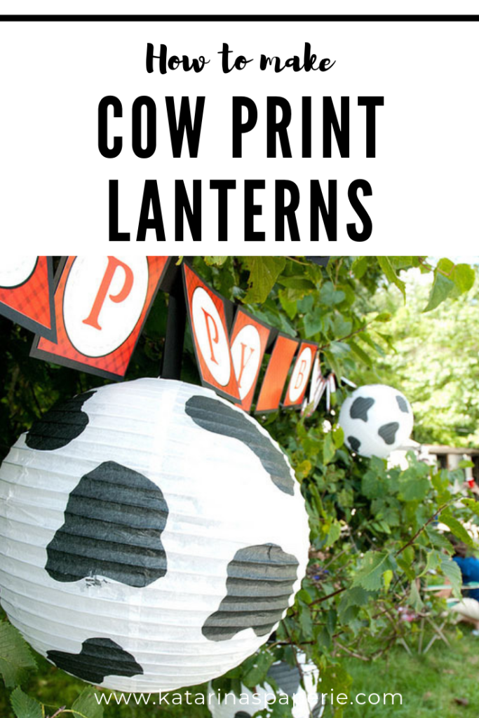 Need an idea for your next barnyard birthday? How about making some cow print lanterns. Check out our simple DIY for this easy barnyard birthday decor. #cowprintlanterns #barnyardbirthday #farmparty