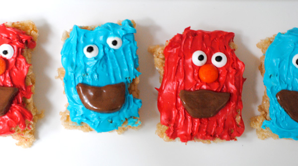 Cookie Monster and Elmo Rice Cereal Treats
