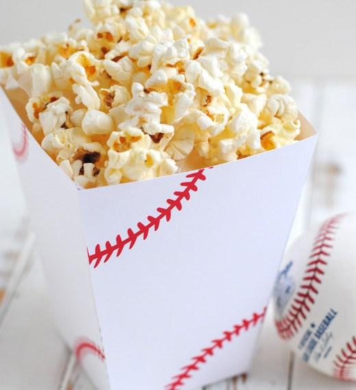 Free printable baseball popcorn box