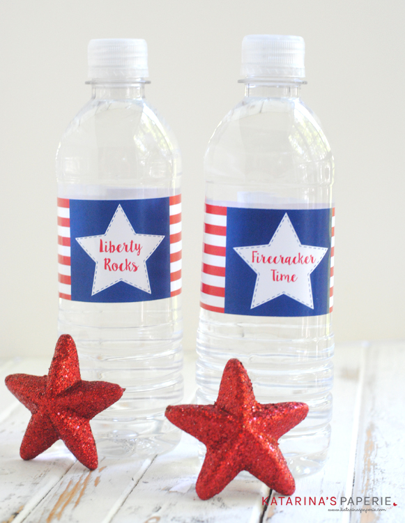 Free printable Fourth of July Water Bottle Labels