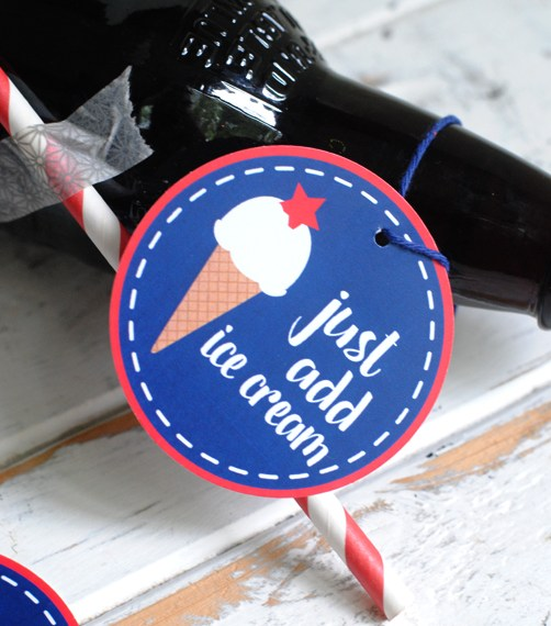 Fourth of July root beer float favor