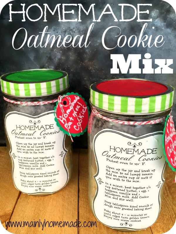 Easy homemade oatmeal cookie mix in a jar