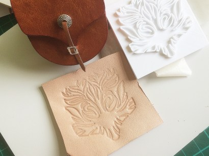 First embossing test of 3D stamp on leather