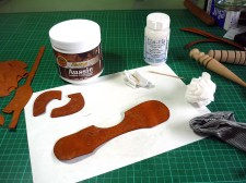 PREP - Working on the cut leather pieces before assembly.