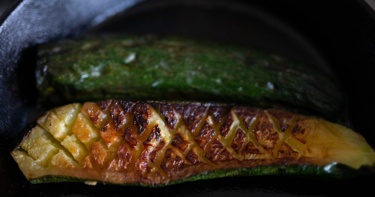 Pan-roasted courgette with herby sauce