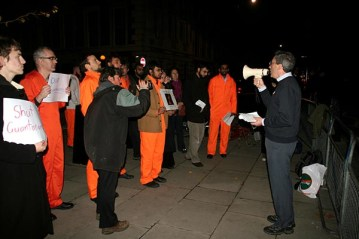 David Harrold speaks at an evening vigil held outside the US Embassy, Grosvenor Square in Mayfair London on the day Americans vote for a new president, to call on them to hold their politicians to the commitments to close Guantánamo Bay down which were made during the presidential campaigning. The rally was organised by the London Guantánamo Campaign and supported by other liberty campaign groups. London, 4th November 2008