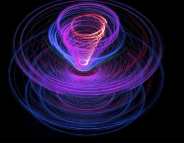 a spinning effect images for purple, blue and red light purple light