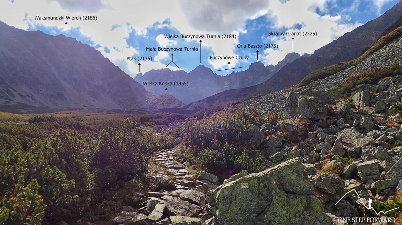 Dolina Pańszczycy - widok na Buczynowe Turnie i Orlą Basztę
