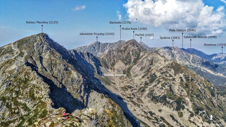Panorama z Rohacza Ostrego na grań Rohaczy i Doline Smutną