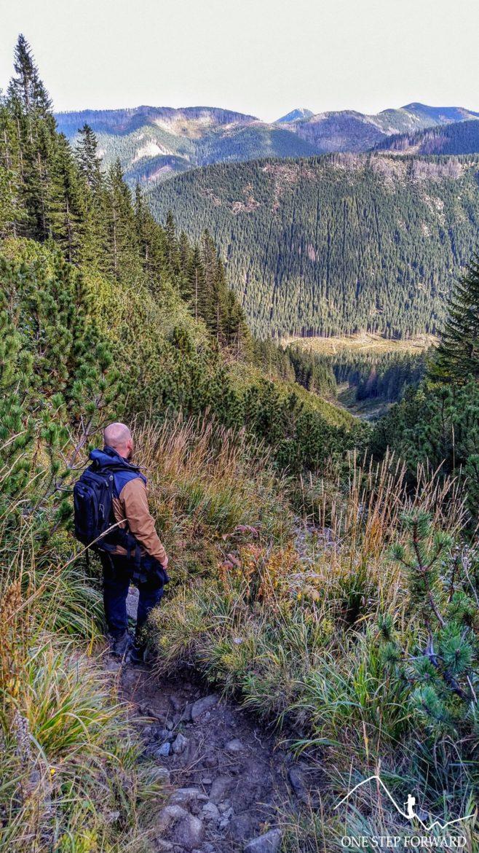 Zejście Spalonym Żlebem w Tatrach Zachodnich