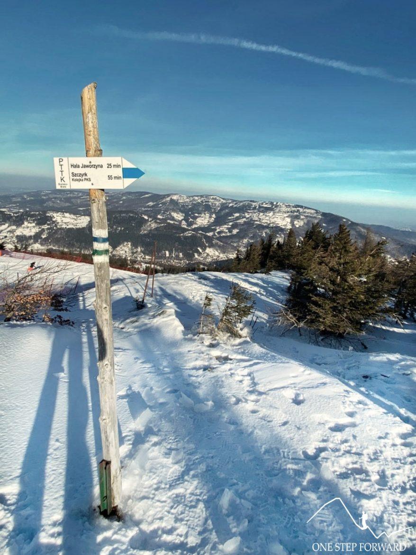 Szlak na Skrzyczne - widok na Klimczok i Szyndzielnię