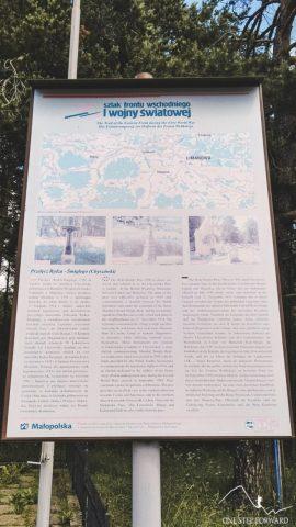 Szlak frontu wschodniego I wojny światowej - tablica informacyjna na przełęczy Rydza - Śmigłego