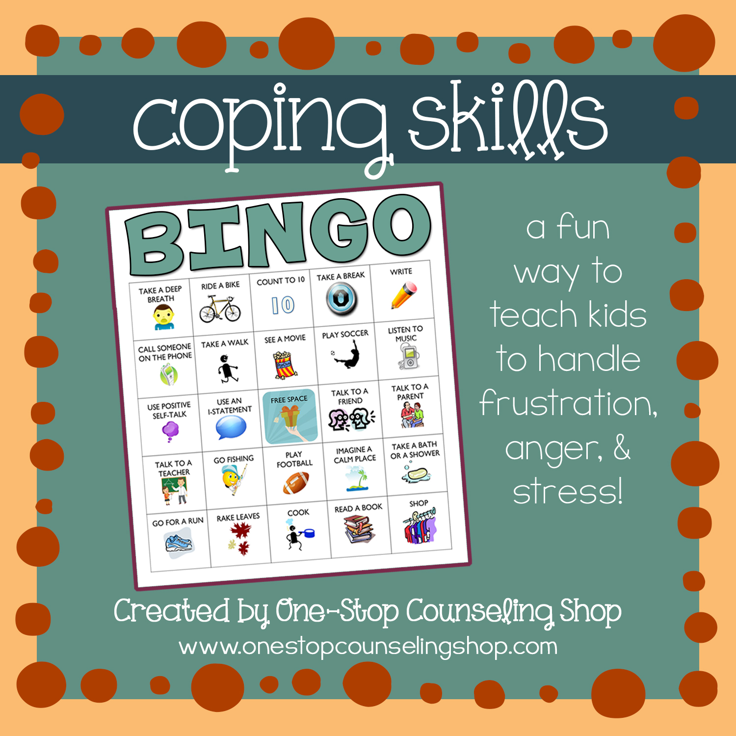 New Ish Product Anger And Coping Skills Bingo Game