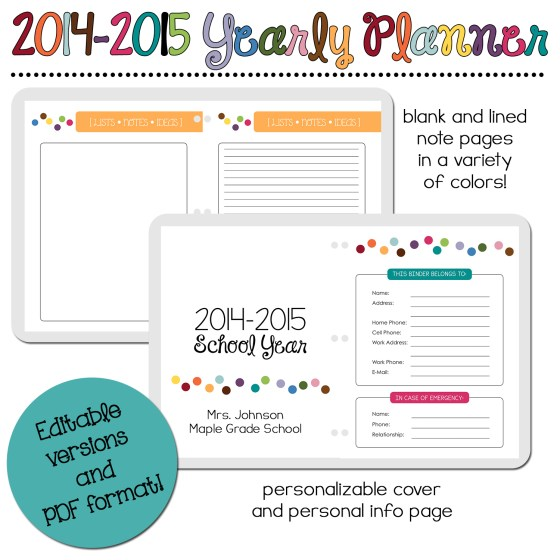 2014-2015 Yearly Planner