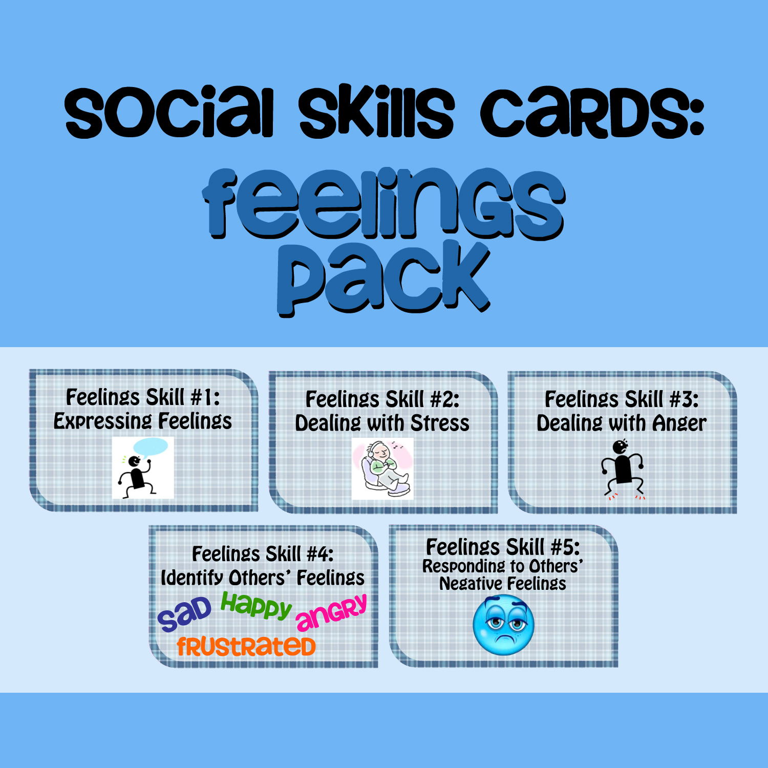 Fun Freebie Social Skills Cards Feelings Pack