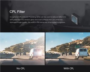 Car driving along showing the difference in CPL filters.