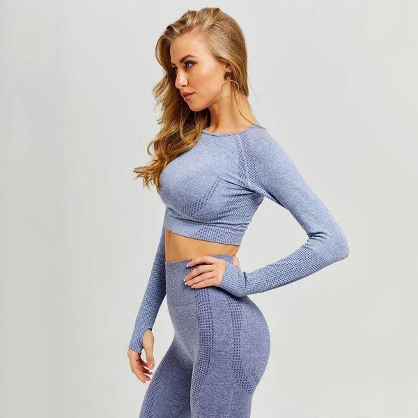 Model in grey yoga set