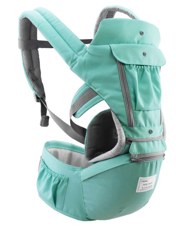 Full view of baby carrier in mint green.